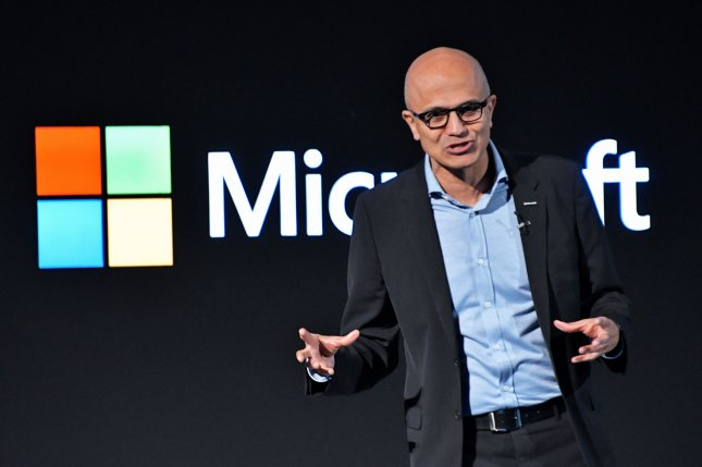 Microsoft CEO Satya Nadella said the company's acquisition of Nuance Communications provides the AI layer at the healthcare point of delivery.Photo by Keizo Mori/UPI