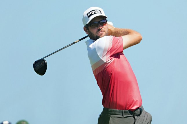 Corey Conners tees off at the ninth hole in the first round of the 103rd PGA Championship on Thursday at Kiawah Island Golf Resort Ocean Course in Kiawah Island, S.C. Photo by Richard Ellis/UPI