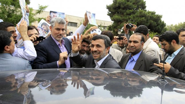 Iranian President Mahmoud Ahmadinejad is surrounded by his supporters as he leaves Mehrabad Airport on June 24, 2012 in Tehran, Iran. There are fears that Tehran is widening its covert war against Israel and the United States as Washington expands its secret intelligence operations across Africa. UPI/Maryam Rahmanian