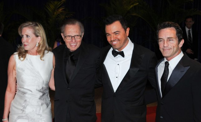 (L to R) Unidentified, Larry King, Family Guy creator Seth MacFarlane, and Jeff Probst, of Survivor, arrive at the White House Correspondents Dinner in Washington on May 1, 2010. UPI/Alexis C. Glenn