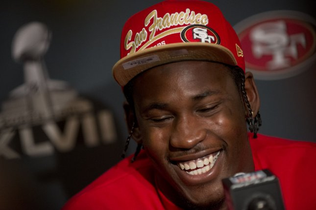 San Francisco 49ers line backer Aldon Smith speaks to the media during a Super Bowl XLVII press conference in New Orleans on January 28, 2013. (File/UPI/Kevin Dietsch)