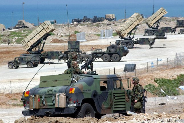 U.S. troops guard Patriot anti-missile systems deployed in a joint US-Israeli military outpost in Jaffa, south of Tel Aviv, March 5, 2003. The Patriots were being deployed to protect Israel from possible Iraqi missile attacks in the event of a U.S.-led military attack on Iraq. On August 16, 2015, the United States and Germany announced the withdrawal of Patriot batteries from Turkey. The missiles had been deployed to the region in 2013 in defense against attacks by the Syrian military. File photo by Debbie Hill UPI