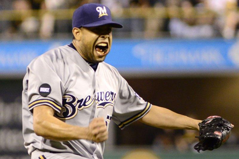 Milwaukee Brewers relief pitcher Francisco Rodriguez (57). UPI/Archie Carpenter