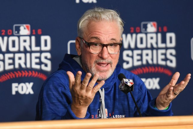 Chicago Cubs' Manager Joe Maddon speaks to the media during World Series Media Day prior to game 1 of the World Series at Progressive Field in Cleveland, Ohio on October 24, 2016. The Indians will play the Chicago Cubs in the 2016 World Series. Photo by Kyle Lanzer/UPI