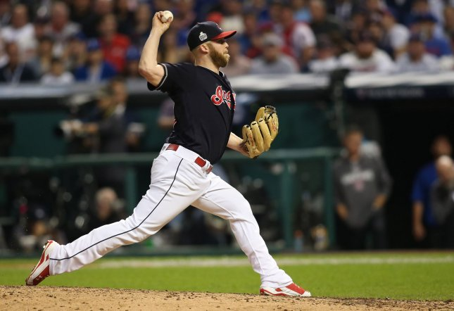Cleveland Indians relief pitcher Cody Allen picked up his 20th win of the season Saturday. Photo by Aaron Josefczyk/UPI
