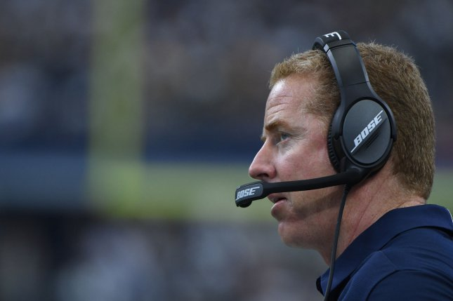 Dallas Cowboys head coach Jason Garrett watches his team play the Green Bay Packers at AT&T Stadium in Arlington, Texas on October 8, 2017. File photo by Ian Halperin/UPI