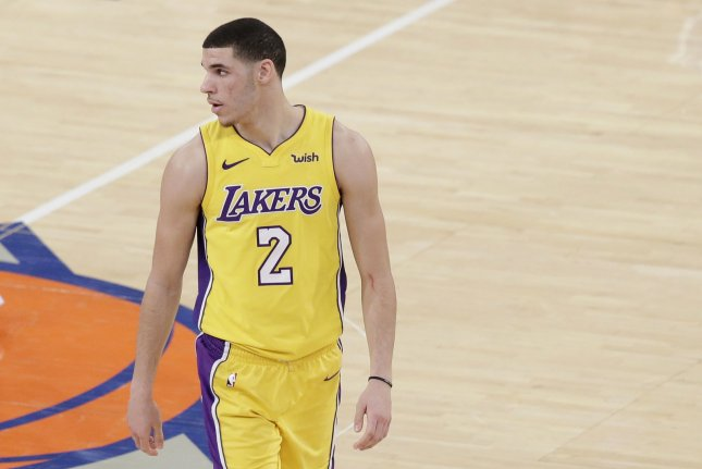 Los Angeles Lakers rookie Lonzo Ball stands on the court in the first half against the New York Knicks on December 12 at Madison Square Garden in New York City. File photo by John Angelillo/UPI