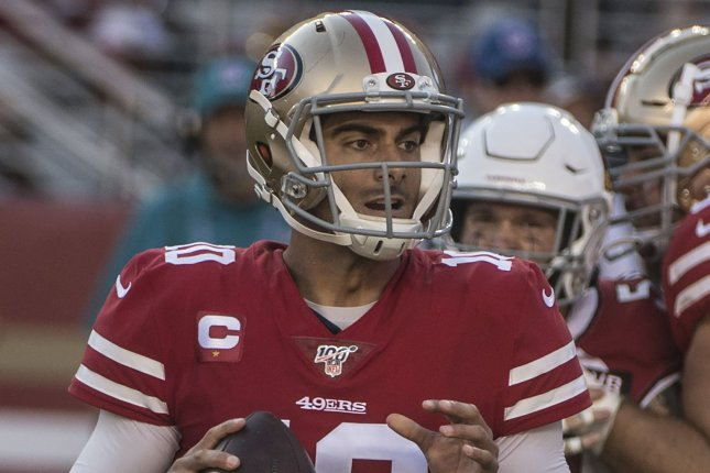 San Francisco 49ers quarterback Jimmy Garoppolo completed 34 of 45 passes for 424 yards, four scores and two interceptions in a win against the Arizona Cardinals Sunday in Santa Clara, Calif. Photo by Terry Schmitt/UPI