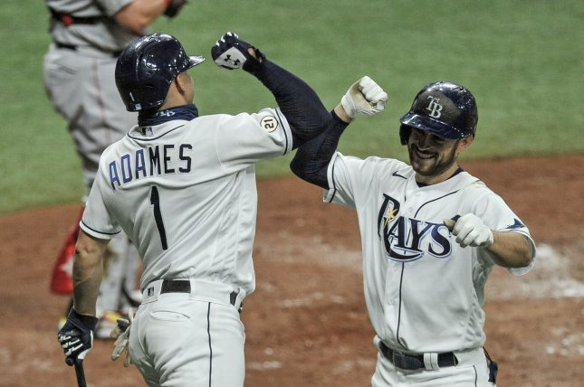 The first-place Tampa Bay Rays held a 3 1/2-game lead over the Toronto Blue Jays entering Friday's games. Photo by Steven J. Nesius/UPI