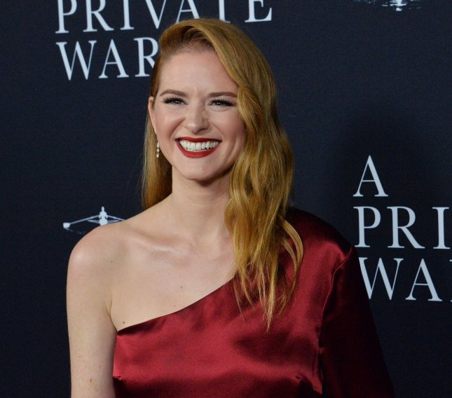 Sarah Drew attends the premiere of A Private War at the Academy of Motion Picture Arts & Sciences in Beverly Hills, Calif., on October 24, 2018. The actor turns 40 on October 1. File Photo by Jim Ruymen/UPI