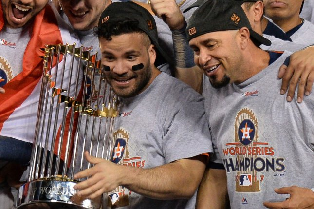 MLB determined in January that the Houston Astros used banned sign-stealing practices during the 2017 and 2018 regular seasons and during their 2017 World Series run, which resulted in the firing of Astros general manager Jeff Luhnow and manager A.J. Hinch. File Photo by Jim Ruymen/UPI