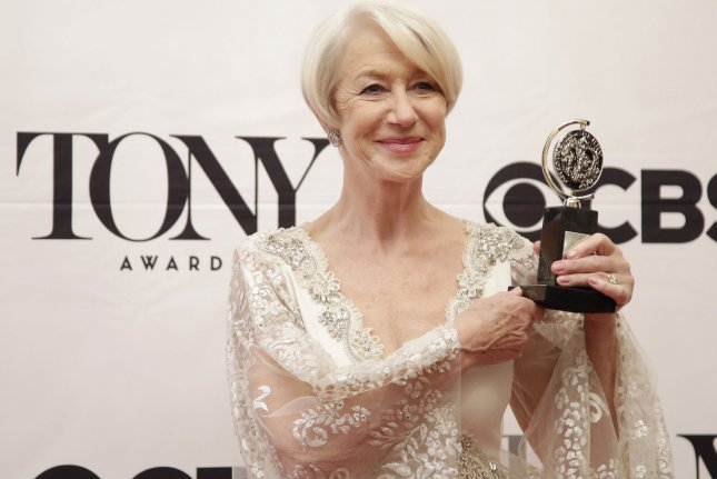 Helen Mirren arrives in the press room with her Tony Award at the 69th Annual Tony Awards on June 7, 2015 in New York City. The evening will feature appearances by Jennifer Lopez, Sting, Jim Parsons, Amanda Seyfried, Kiefer Sutherland, Bryan Cranston, Sutton Foster, Jennifer Nettles, Taye Diggs and Ashley Tisdale. Photo by John Angelillo/UPI