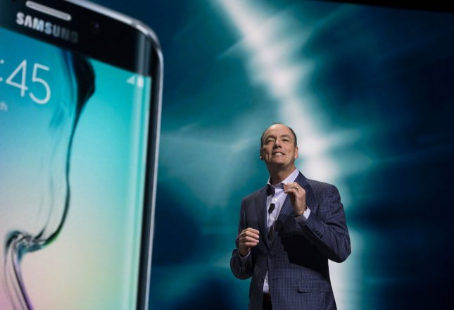 Tim Baxter, president and COO of Samsung Electronics America, speaks during the Samsung press conference ahead of the 2016 International CES trade show of consumer electronics in Las Vegas last month. File Photo by Molly Riley/UPI