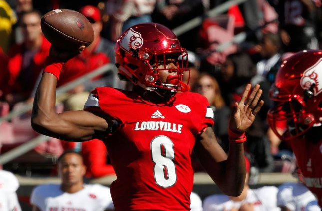 Louisville Cardinals quarterback Lamar Jackson is already considered among the NFL's top draft prospects. Photo by John Sommers II/UPI