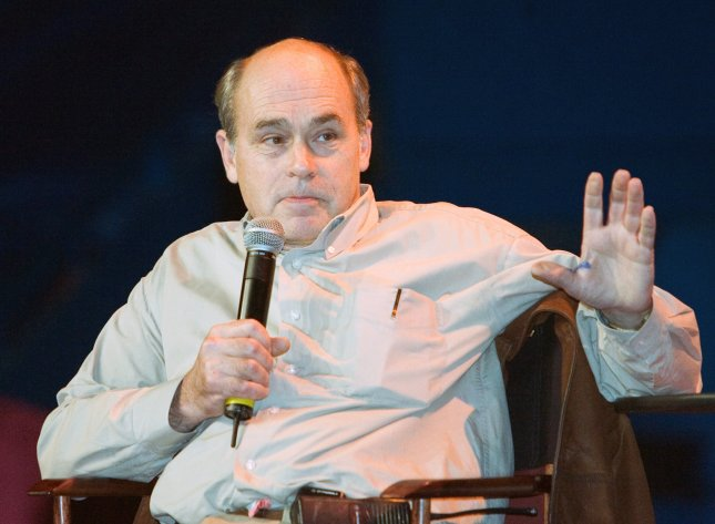 John Dunsworth from the television series Trailer Park Boys answers questions for fans before the Team Canada vs. Team USA game of the World Junior Hockey Championships at Vancouver's Pacific Coliseum, December 31, 2005. Dunsworth's family announced he died on Monday. File Photo by Heinz Ruckemann/UPI