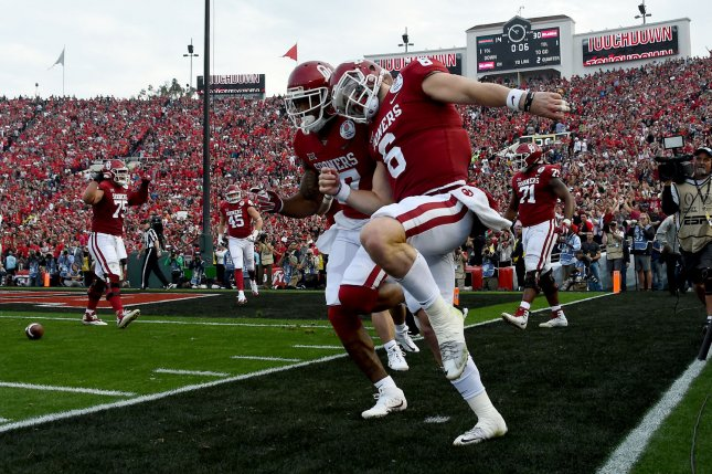 Oklahoma Sooners quarterback Baker Mayfield (6) and wide receiver Jordan Smallwood (17) celebrate after a touchdown in the second quarter against the Georgia Bulldogs on January 1, 2018 at the Rose Bowl in Pasadena, California. Photo by Jon SooHoo/UPI