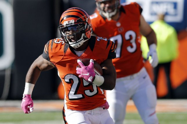 Cincinnati Bengals running back Giovani Bernard was scheduled to become an unrestricted free agent at the end of this season. File Photo by John Sommers II/UPI