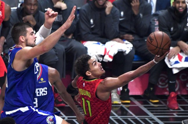 Atlanta Hawks guard Trae Young (R) is one of several NBA stars expected to participate in a televised game of H-O-R-S-E. File Photo by Jon SooHoo/UPI