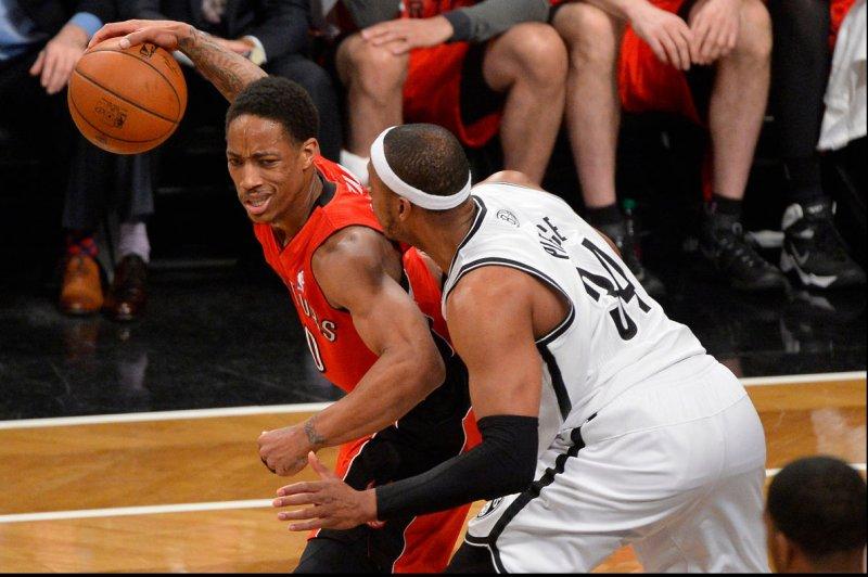 Toronto Raptors guard DeMar DeRozan (10). UPI/Rich Kane