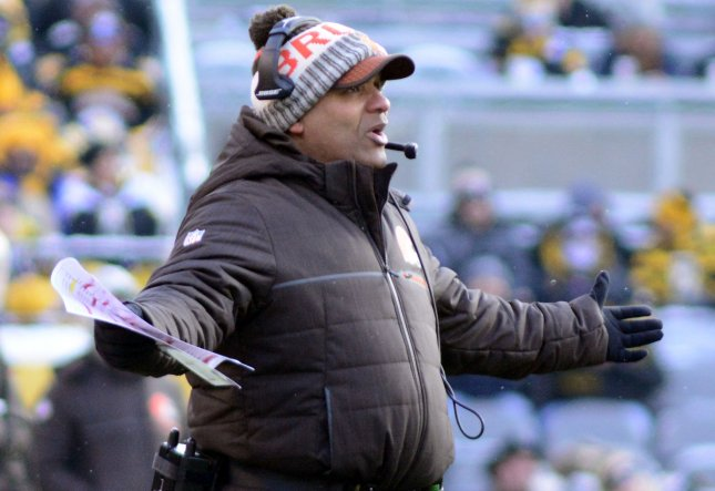 Cleveland Browns coach Hue Jackson questions a call during a game against the Pittsburgh Steelers on Dec. 31. Jackson has won one game in his two full seasons with the franchise. Photo by Archie Carpenter/UPI