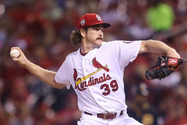 St. Louis Cardinals starting pitcher MIles Mikolas delivers a pitch to the Pittsburgh Pirates in the third inning at Busch Stadium in St. Louis on September 11, 2018. Photo by Bill Greenblatt/UPI