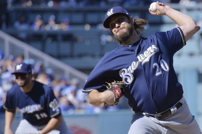 Milwaukee Brewers pitcher Wade Miley gets set to throw during the NL Championship Series against the Los Angeles Dodgers at Dodger Stadium on October 17, 2018. Photo by Jim Ruymen/UPI