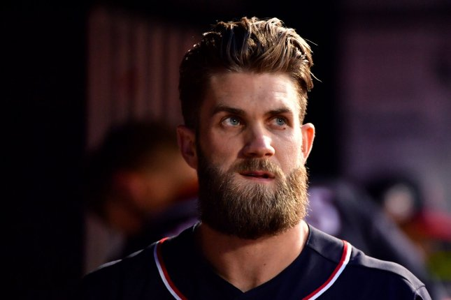 Philadelphia Phillies right fielder Bryce Harper will become a father in late 2019 or early 2020 after announcing his wife is pregnant. File Photo by Kevin Dietsch/UPI