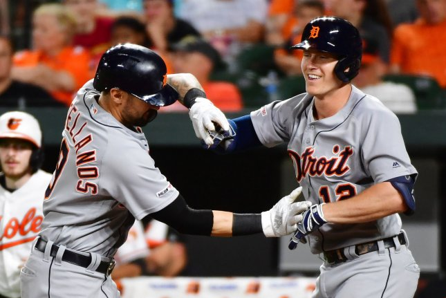 Detroit Tigers slugger Brandon Dixon is now hitting .306 with five home runs and 16 RBIs this season after his two-run shot in the ninth inning against the Baltimore Orioles on Wednesday in Baltimore. Photo by David Tulis/UPI