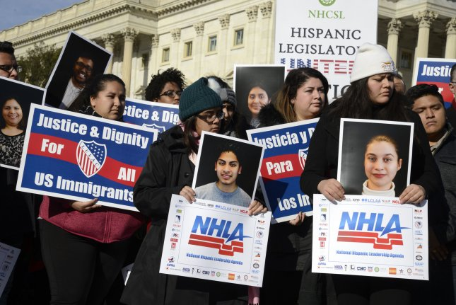 Pro-immigration demonstrators rally outside the U.S. Capitol on January 19, 2018. File Photo by Mike Theiler/UPI