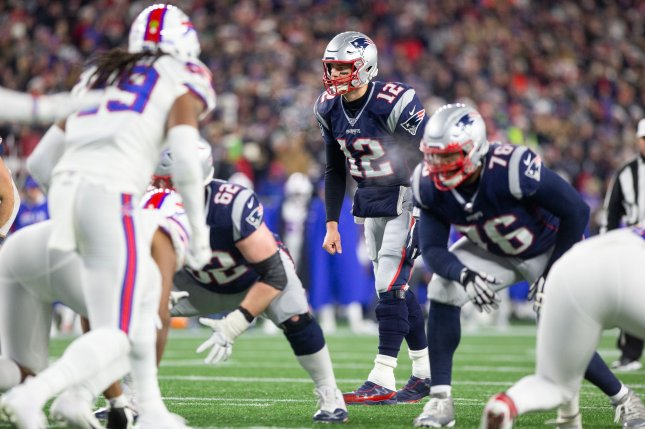 New England Patriots quarterback Tom Brady (12) completed 26 of 33 passes for 271 yards and a touchdown in a win against the Buffalo Bills Saturday in Foxborough, Mass. Photo by Matthew Healey/UPI