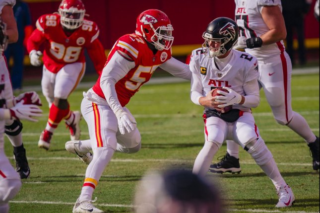Kansas City Chiefs defensive end Alex Okafor (57), shown Dec. 27, 2020, was limited to just 11 games last season because of a hamstring injury. File Photo by Kyle Rivas/UPI