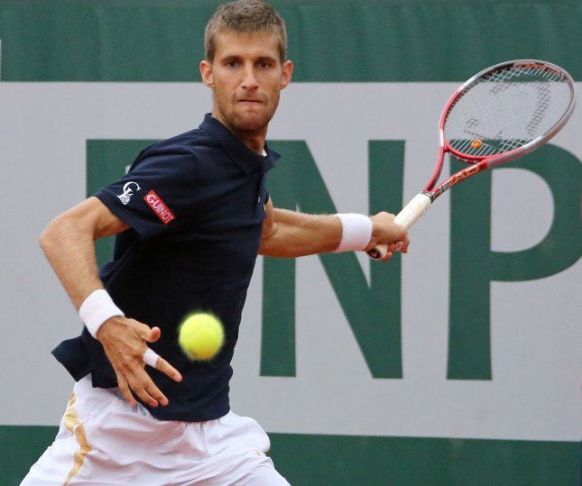 Martin Klizan, shown during this year's French Open, picked up a first-round win Monday at the ATP's Mercedes Cup torunament in Germany. UPI/David Silpa