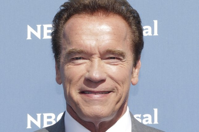 Incoming Celebrity Apprentice host Arnold Schwarzenegger arrives on the red carpet at the 2016 NBCUNIVERSAL Upfront on May 16, 2016 in New York City. File Photo by John Angelillo/UPI
