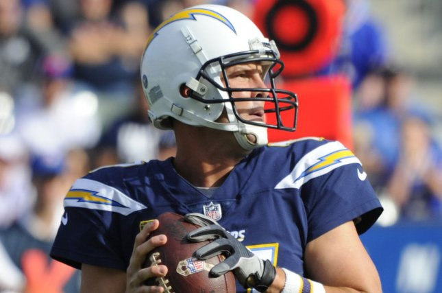 Los Angeles Chargers' Philip Rivers throws a pass in the first half against the Buffalo Bills at StuHub Center in Carson, California on November 19, 2017. File photo by Lori Shepler/UPI