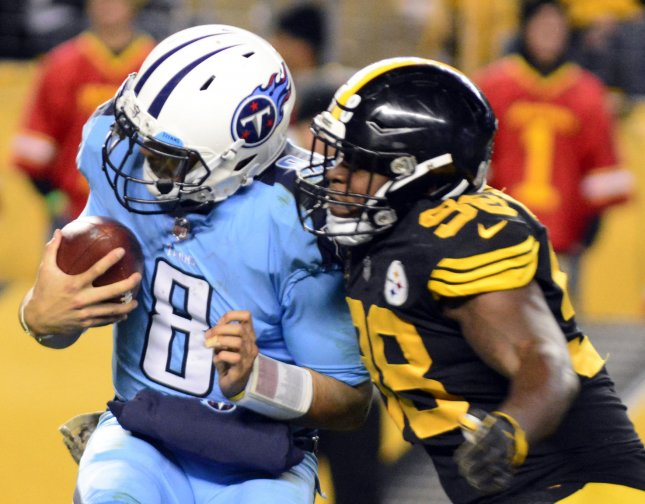 Tennessee Titans quarterback Marcus Mariota is sacked by Pittsburgh Steelers inside linebacker Vince Williams during the Steelers' 40-17 win on Nov. 16. Photo by Archie Carpenter/UPI