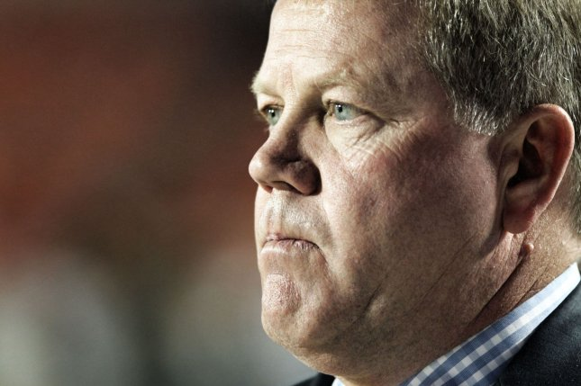 Notre Dame Coach Brian Kelly. File photo by Marc Serota/UPI