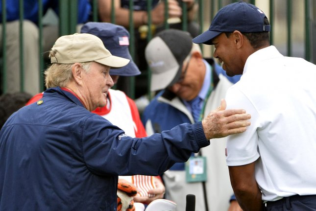 Jack Nicklaus (L) says Tiger Woods (R) is his favorite to win the 2019 U.S. Open, which starts Thursday in Pebble Beach, Calif. File Photo by Brian Kersey/UPI