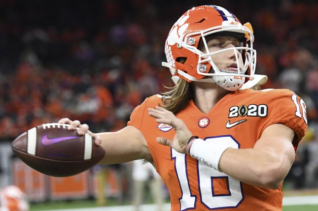 Clemson quarterback Trevor Lawrence will miss at least two games after he tested positive for COVID-19 on Wednesday. File Photo by Pat Benic/UPI