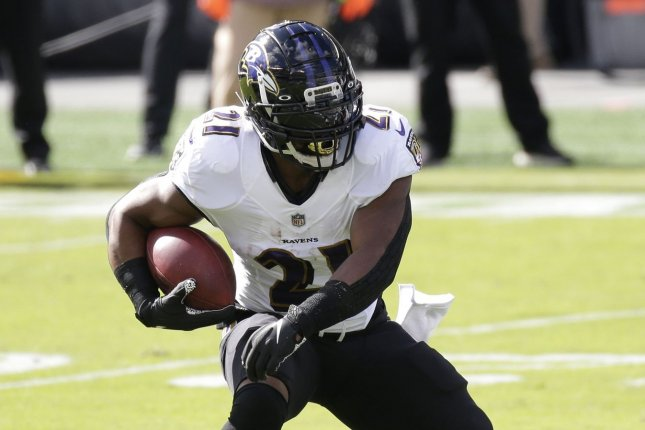Baltimore Ravens running back Mark Ingram is expected to be released on Tuesday after a lackluster campaign in 2020. File Photo by John Angelillo/UPI