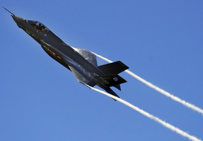 An F-35 Lightning II Joint Strike Fighter test aircraft banks over the flightline at Eglin Air Force Base, Florida on, April 23, 2009. The aircraft is the first F-35 to visit the base which will be the future home of the JSF training facility. (UPI Photo/Julianne Showalter/US Air Force)