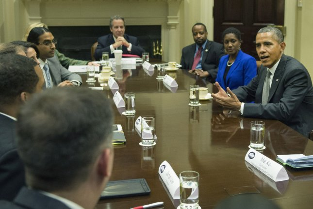 President Barack Obama meets with small business leaders in the Roosevelt Room at the White House on October 11, 2013. UPI/Kevin Dietsch