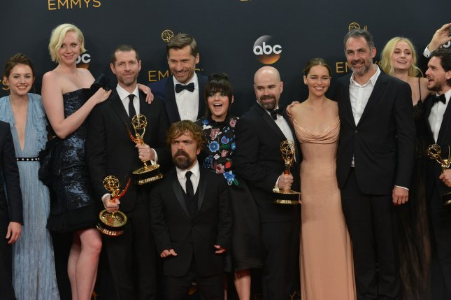 Cast and crew of 'Game of Thrones,' appear backstage with their awards they won for Best Drama Series during the 68th annual Primetime Emmy Awards at Microsoft Theater in Los Angeles on September 18, 2016. Photo by Christine Chew/UPI