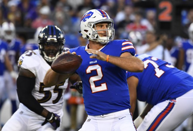 Buffalo Bills quarterback Nathan Peterman prepares to paqss downfield against the Baltimore Ravens during a preseason game in August. Photo by David Tulis/UPI