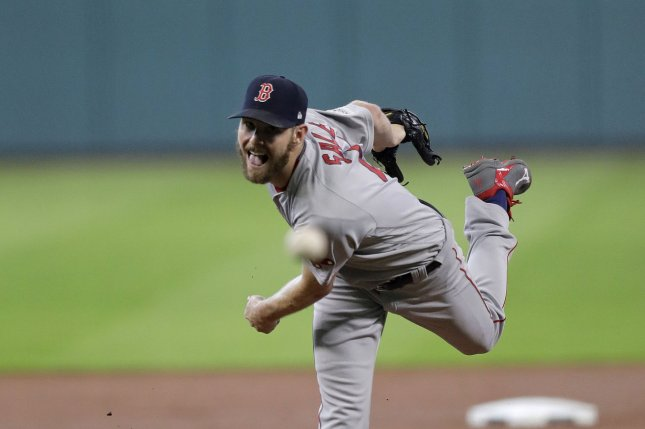 Boston Red Sox pitcher Chris Sale (41) pitches against the Houston Astros in the first inning of game 1 of the ALDS in Houston, Texas on October 5, 2017. Photo by Eric Gay/UPI