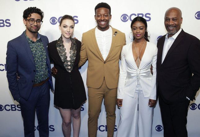 Left to right God Friended Me stars Suraj Sharma, Violett Beane, Brandon Micheal Hall, Javicia Leslie and Joe Morton arrive at the 2018 CBS Upfront on May 16, 2018 in New York City. The network renewed the show for a second season Tuesday. File Photo by John Angelillo/UPI
