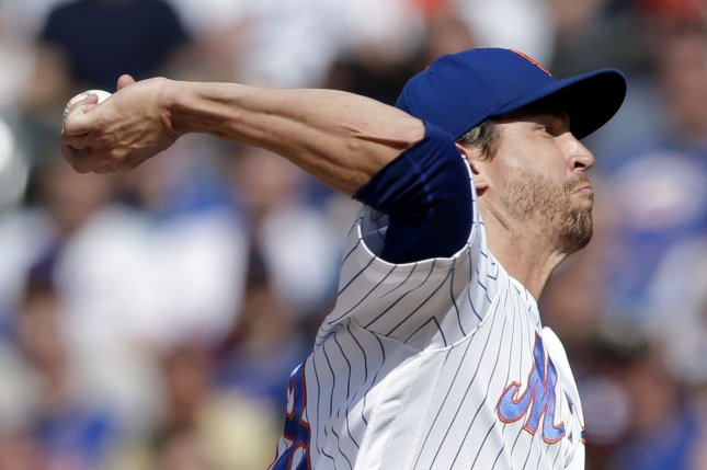 New York Mets starting pitcher Jacob deGrom, shown June 26, 2021, felt discomfort in his right forearm during a bullpen session Friday. File Photo by John Angelillo/UPI