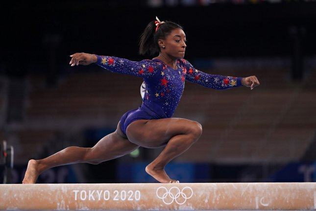U.S. Gymnast Simone Biles competes during her qualifying round on the balance beam at Ariake Gymnastics Centre at the Tokyo Olympic Games in Tokyo, Japan, on July 25. Photo by Richard Ellis/UPI