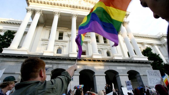 Protesters rally to overturn Proposition 8, at the State Capitol, in Sacramento, California, on November 22, 2008. (UPI Photo/Ken James)