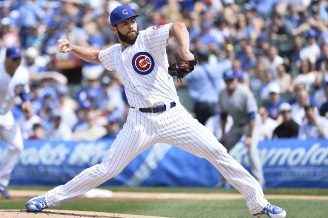 Chicago Cubs starting pitcher Jake Arrieta. Photo by Brian Kersey/UPI