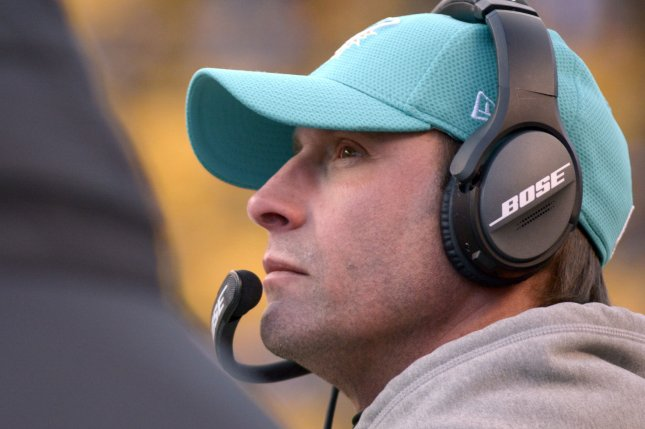 Miami Dolphins head coach Adam Gase on the sideline during a timeout late in the fourth quarter of the Pittsburgh Steelers 30-12 win at the AFC Wild Card Playoff game at Heinz Field in Pittsburgh on January 8, 2017. File photo by Archie Carpenter/UPI